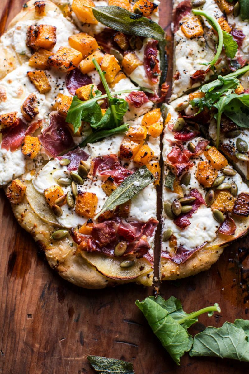 Roasted Butternut Squash Apple Burrata Pizza