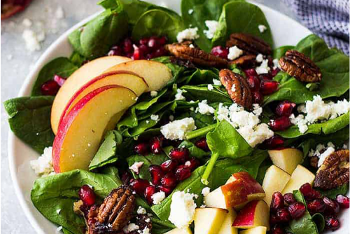 Spinach,-apple-and-pomegranate-salad